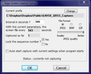 Argo Capture Setup Screen